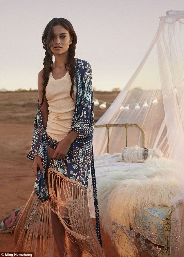Dream time: The Melbourne-born beauty went braless throughout the Bohemian-themed photo shoot