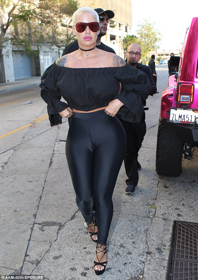 Muva-side: Amber Rose proved once again just why she is so confident as she stepped out in Hollywood in yet another revealing outfit on Sunday