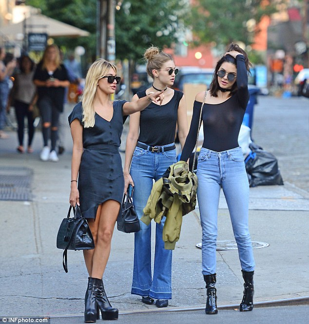 Breast friends:Kendall Jenner did the impossible on Tuesday - ensured all eyes were on her despite being flanked by model friends Hailey Baldwin and Gigi Hadid in New York