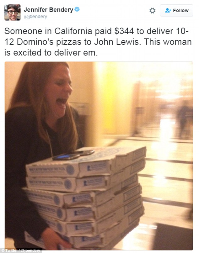 A supporter of the sit-in paid $344 to deliver Domino's pizzas to John Lewis, according to Jennifer Bendery