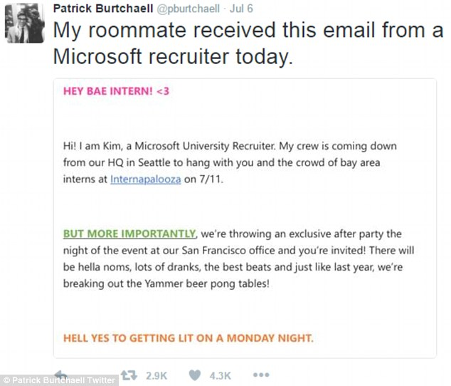 Microsoft sends cringeworthy email to \u0027bae\u0027 interns at San Francisco - interning at microsoft