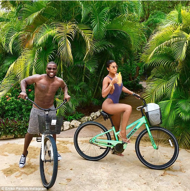 Having a blast: 'Biking with my boo,' Kevin wrote as the couple set out on a ride