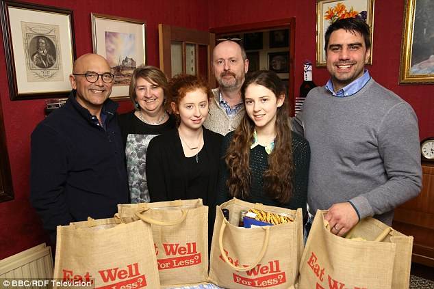 Gregg Wallace, left, with (l-r) Angela, Ffion, Neil, Alice and Chris Bavin during filming for the show