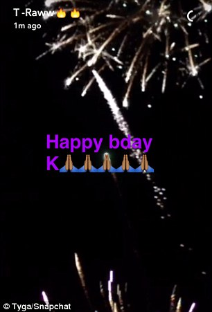 Explosions in the sky: Tyga took to his Snapchat to share a short video of fireworks