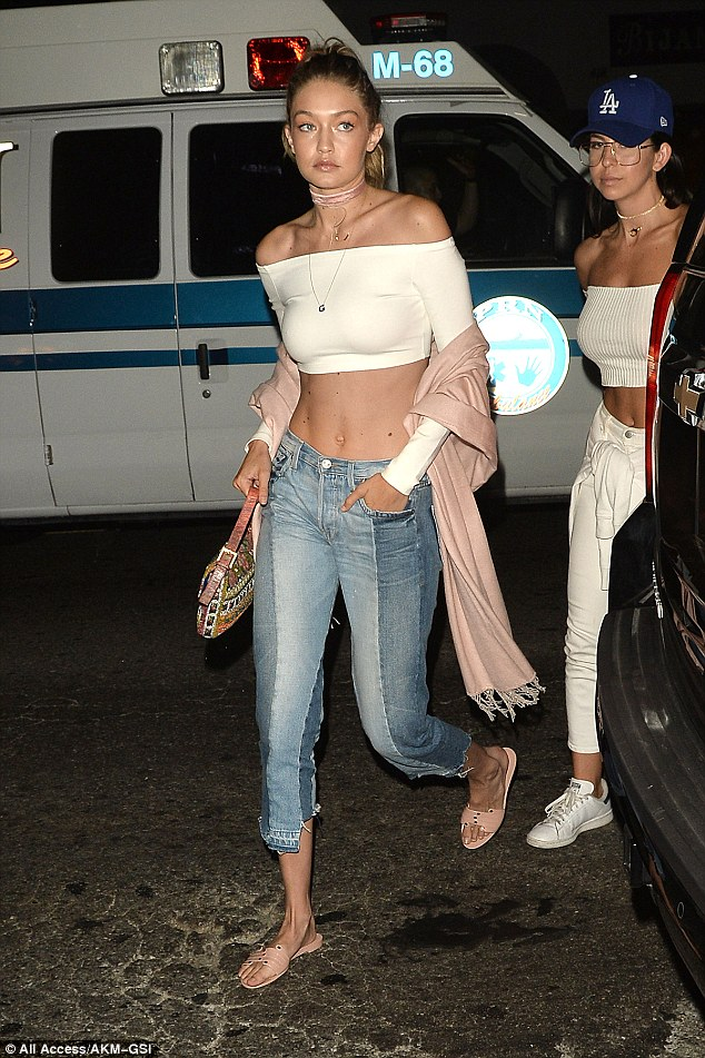 Simple but chic: Gigi made the most of her amazing figure in her casual attire