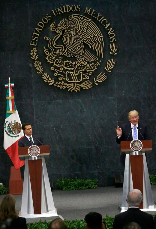 Mexico President Enrique Pena Nieto and Republican presidential nominee Donald Trump take part in a joint statement at Los Pinos, the presidential official r...