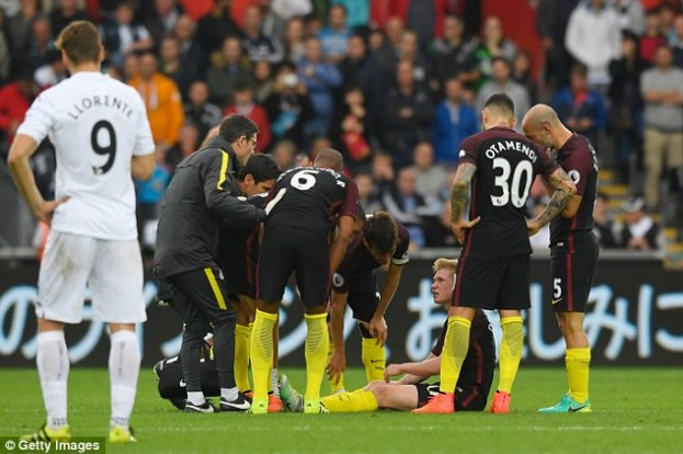 The midfielder was substituted on 81minutes and could be sidelined for the next four weeks