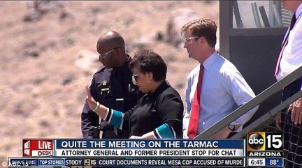 Revelation: A local television news station captured Loretta Lynch on the tarmac. If the footage had not been taken, the meeting - and Bill Clinton's 'bushwhack' - would never have been known