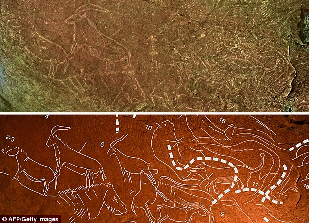 These images show cave engravings (top) representing animals like horses, bisons, lions or goats, and a highlighted version, in the Armintxe cave