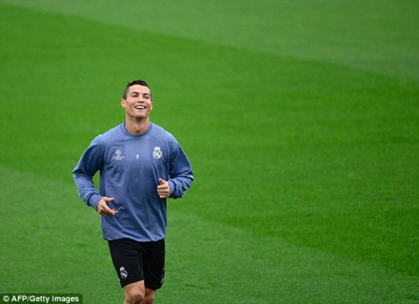 Cristiano Ronaldo was in cheerful mood as Madrid took to training on Monday morning