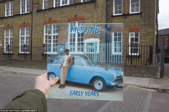 Early Years by Moodie (1974): The inventive photographer has retaken famous record covers in their original London locations. Moodie wrote Reggae on the Moon, which is said by some to have inspired Sting to write Dancing on the Moon. The album was photographed on Downhills Park Road in front of what is now Haringey Council's professional development centre