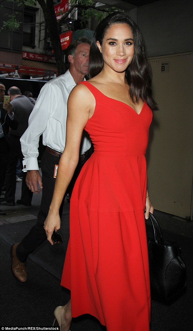The stunning brunette, pictured at the Today show in New York in July 2016, is said to share a 'definite chemistry' with a besotted Prince Harry