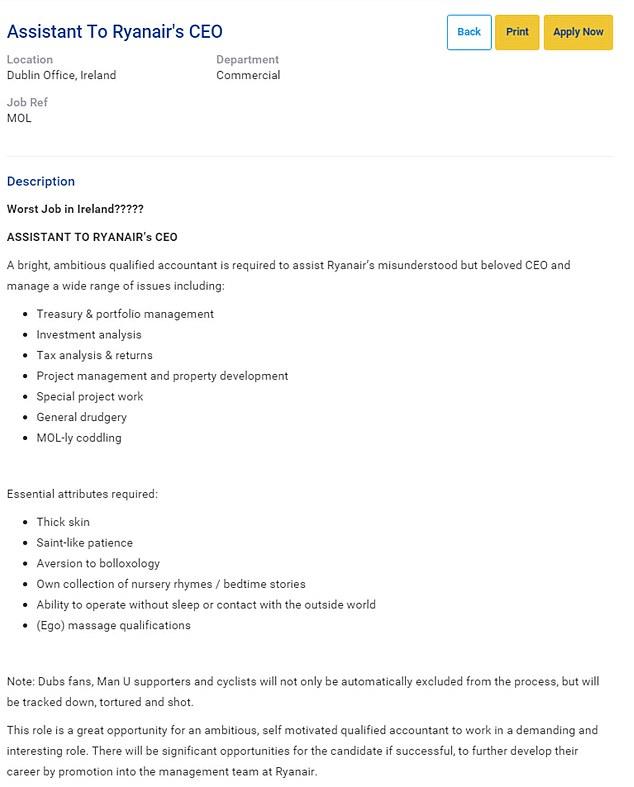 Ryanair advertises job vacancy for assistant to CEO Michael O - ceo job description