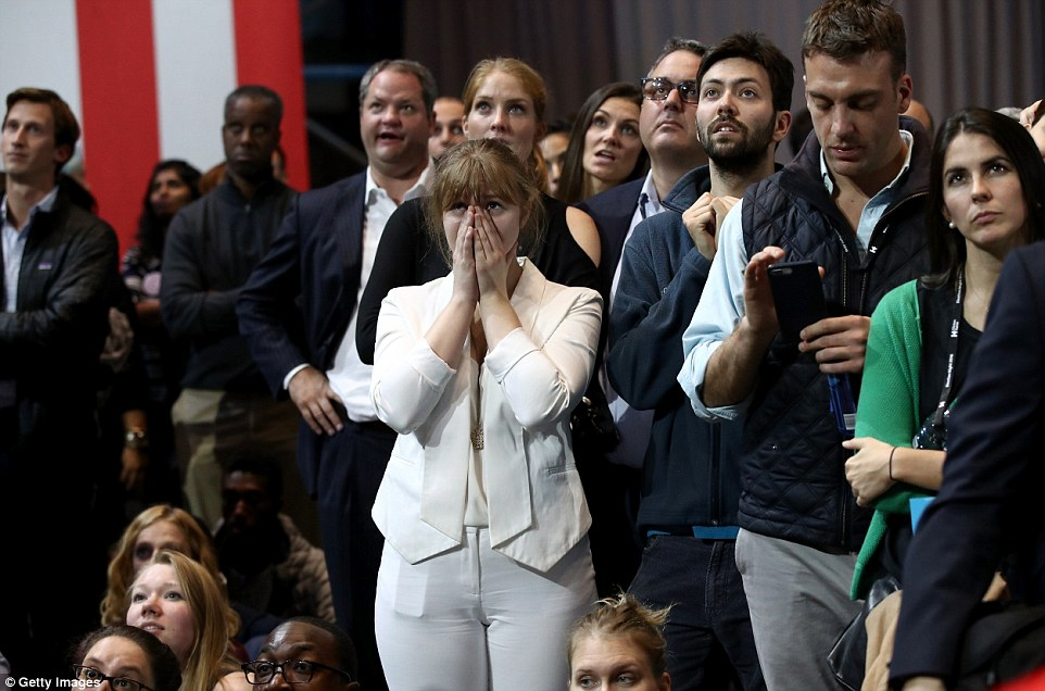 White with shock: Clinton supporters hold their breath as results roll in about their candidate's collapse in the race