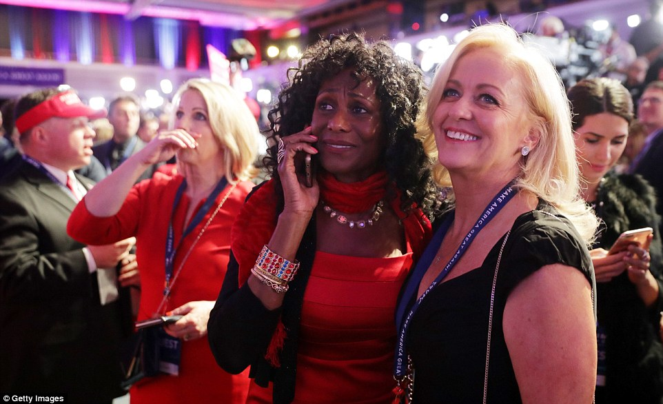 Happy disbelief: Some Trump supporters appeared to show disbelief as he increased his hold on the American voter base