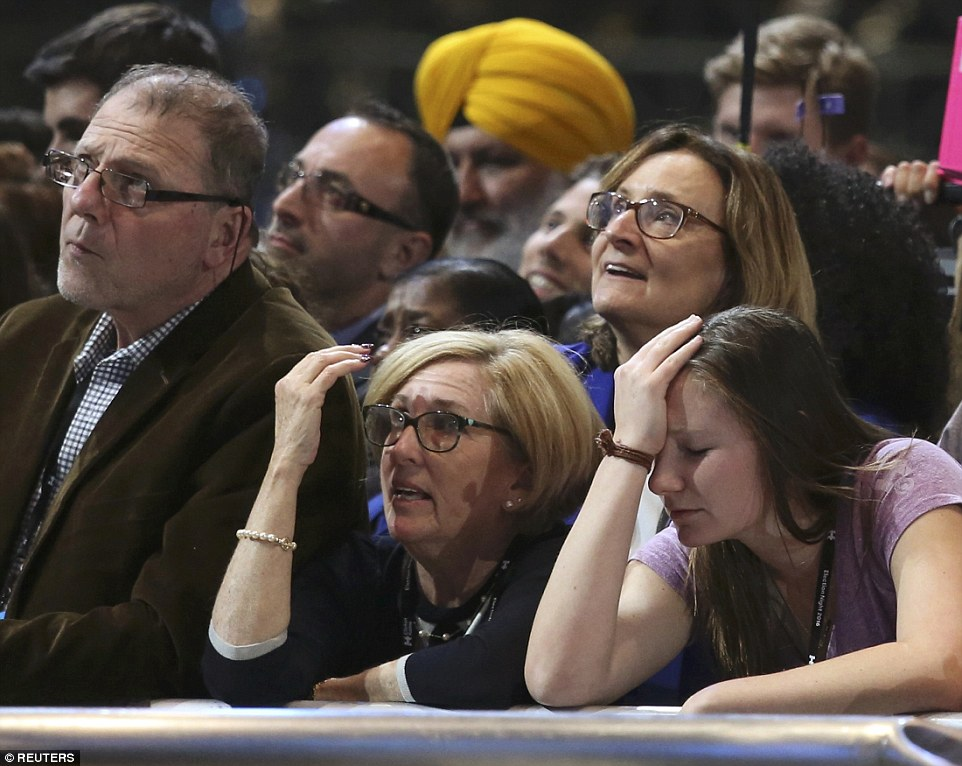 Distraught: Several supporters appeared distraught as Clinton's plans for Presidential success unraveled