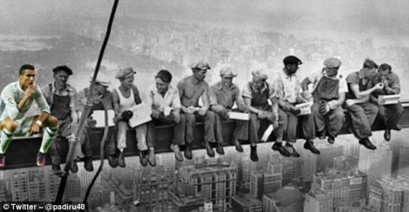 The 31-year-old forward drops in on the famous 'Lunch atop a Skyscraper' photograph