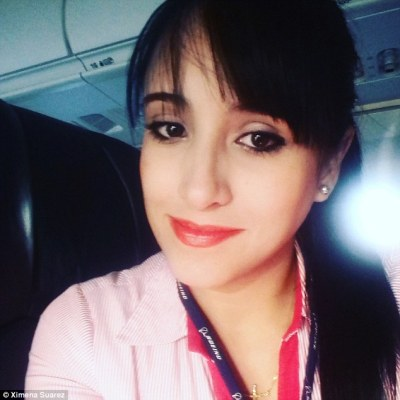 Stewardess Ximena Suarez, pictured, who also survived the crash, told a government official the lights went off as the jet started to go down