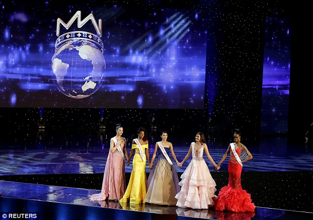 L-RMiss Philippines Catriona Elisa Gray, Miss Dominican Republic Yaritza Miguelina Reyes Ramirez, Miss Indonesia Natasha Mannuela, Miss Puerto Rico Stephanie Del Valle and Miss Kenya Evelyn Njambi Thungu, were all finalists in the Miss World 2016 competition