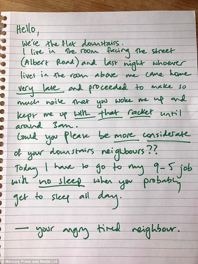 letter to noisy neighbour