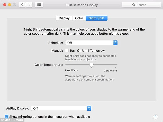 Apple unveils \u0027Night Shift\u0027 mode for Mac Daily Mail Online - shift workers schedule
