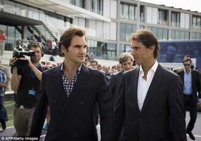 Federer Left Chats To Rafael Nadal During The Opening Of The Rafa