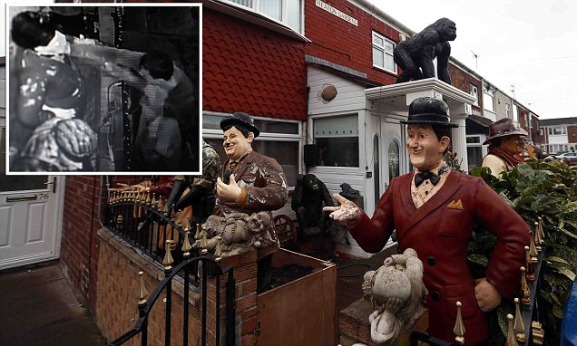 Laurel And Hardy Garden Statue Vandal pushes over statue in Laurel and Hardy garden | Daily Mail Online