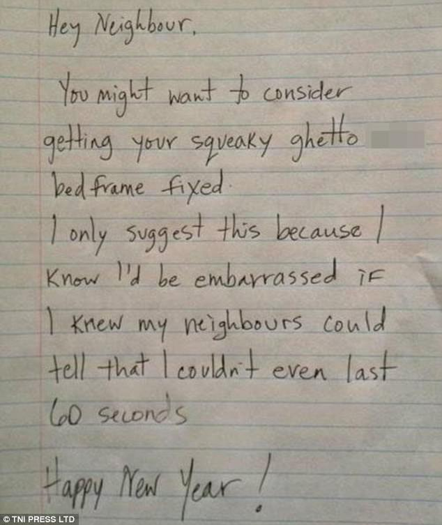Employee Complaint Letter Sample Letters Noisy Sex Letters Left By Grumpy Neighbours Daily Mail