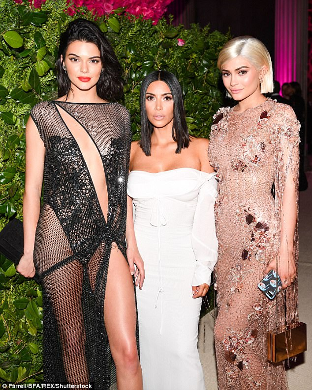 Three for the road: Kim with Kendall and Kylie at the Met Gala on Monday