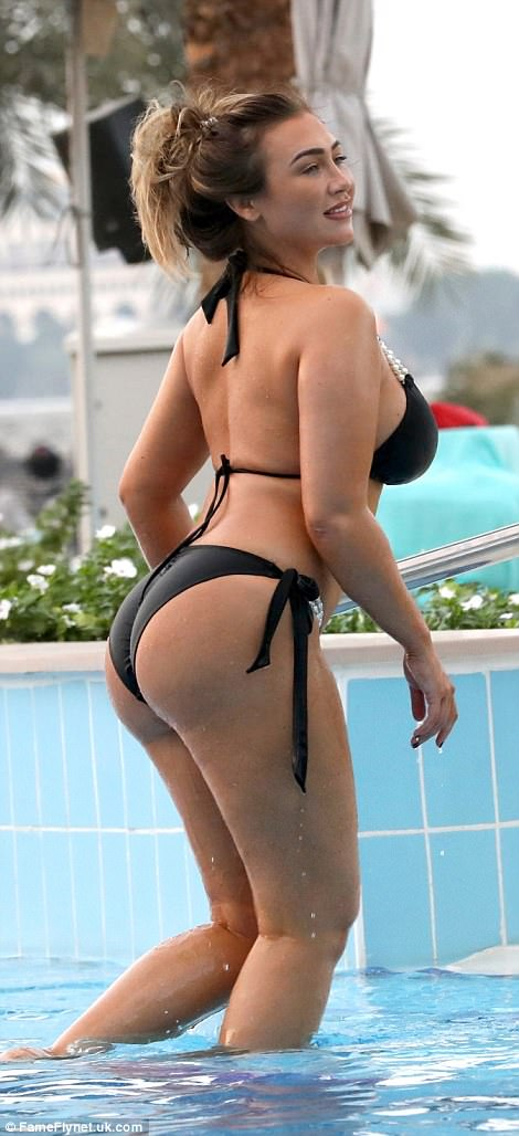 Hourglass: Lauren certainly turned heads thanks to her incredible figure, parading her enviable curves