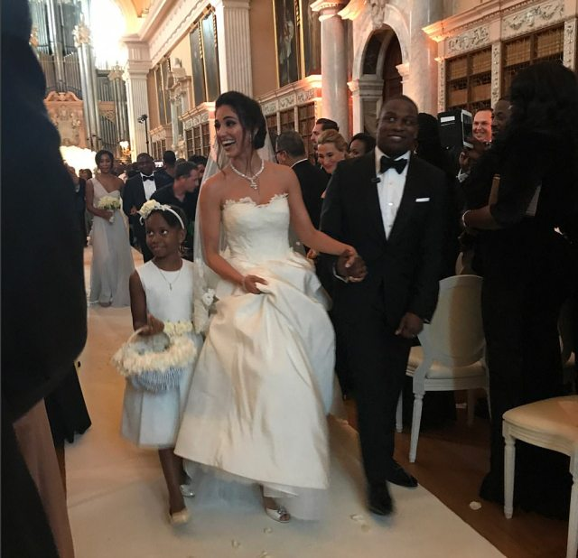 Folarin's new wife studied Bioengineering and Biomedical Engineering at the University of Manchester, has a graduate Diploma in Law and has also worked as a model and marketing consultant. The happy newlyweds are pictured walking down the aisle after tying the knot