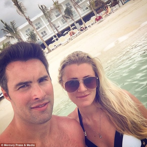 Chris Roberts, 29, and 22-year-old Laura Lewis pictured during their week-long holiday to Jamaica