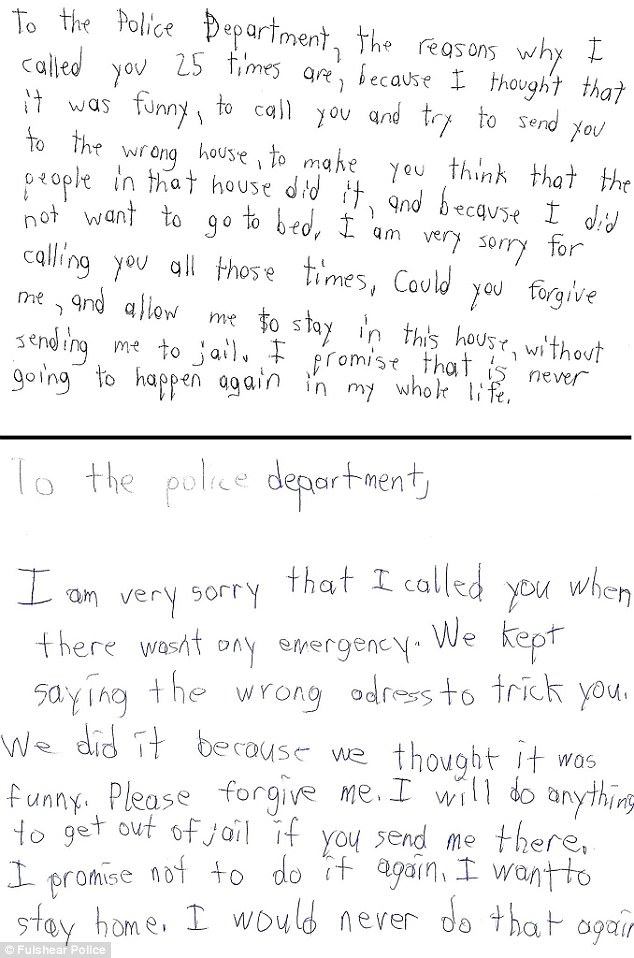 Young Texas brothers write apology letters to police Daily Mail Online - how to make an apology letter