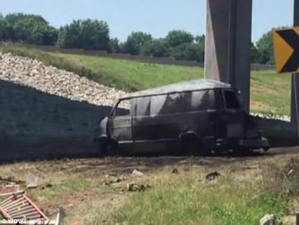 Prosecutor Ryan Lindberg said Garcia-Velasco was driving down Interstate 80 around 1pm on Wednesday when the incident occurred. Garcia-Velasco reportedly told cops he consumed 12 beers the previous evening into the morning of the crash. Pictured is the burned-out van