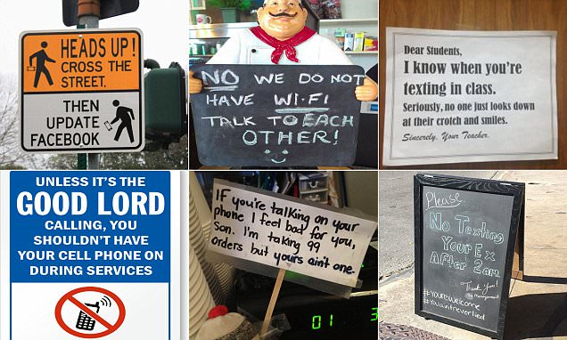 Hilarious signs tell people to put down their phones Daily Mail Online