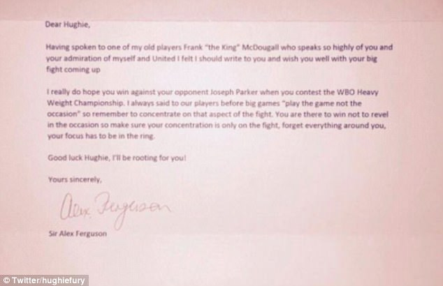 Hughie Fury receives letter from Sir Alex Ferguson Daily Mail Online - Admiration Letter