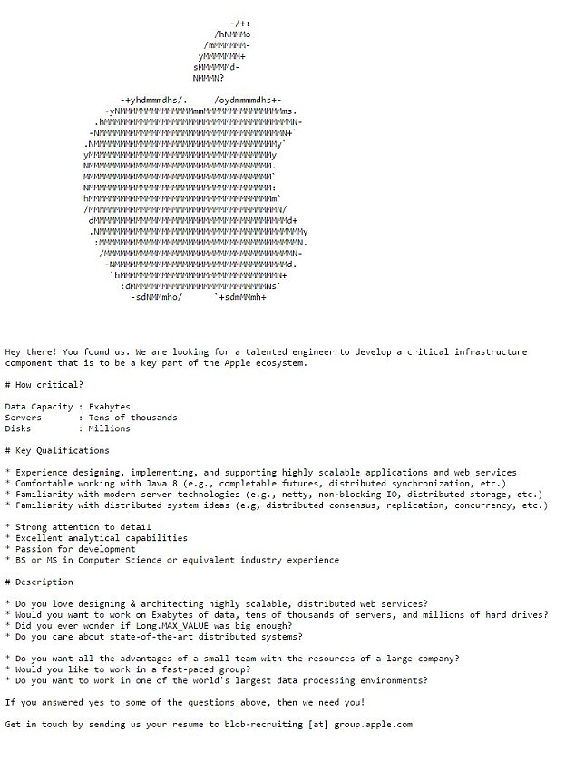 Apple hides engineer job application within its website Daily Mail