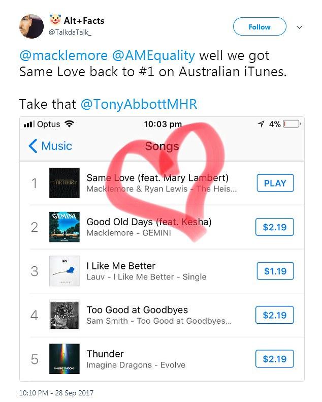 Macklemore\u0027s \u0027Same Love\u0027 climbs to iTunes number one Daily Mail Online