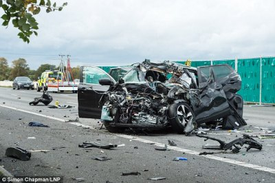 Two people injured in M4 crash between car and lorry | Daily Mail Online