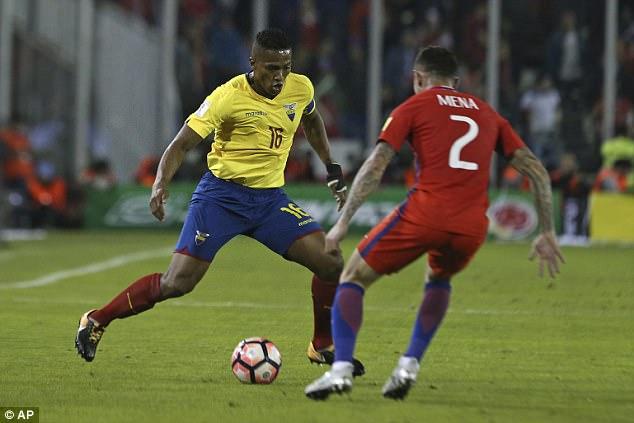 O lado equatoriano de Antonio Valencia terminou oitavo na eliminatória da Copa do Mundo da América do Sul