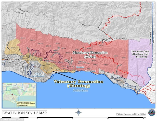 The current evacuation map as of noon Saturday is seen.Thousands have fled as Montecito came under mandator evacuation and voluntary evacuation zones were extended into downtown Santa Barbara