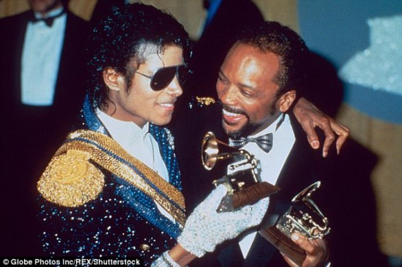 Candor: Quincy Jones, the legendary music producer who frequently collaborated with Michael Jackson, accused the latter of plagiarism; they are pictured at the 1984 Grammys