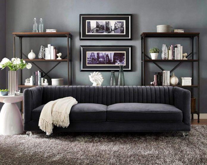 Tov Furniture Modern Velvet Upholstered Living Room Sofa
