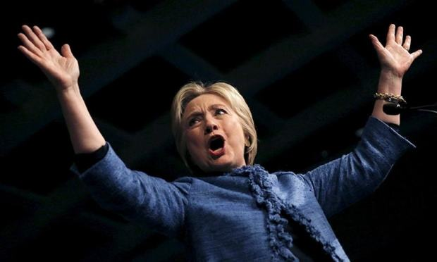 Democratic US presidential candidate Hillary Clinton waves as she speaks to supporters at a campaign rally in West Palm Beach, Florida. ─ Reuters