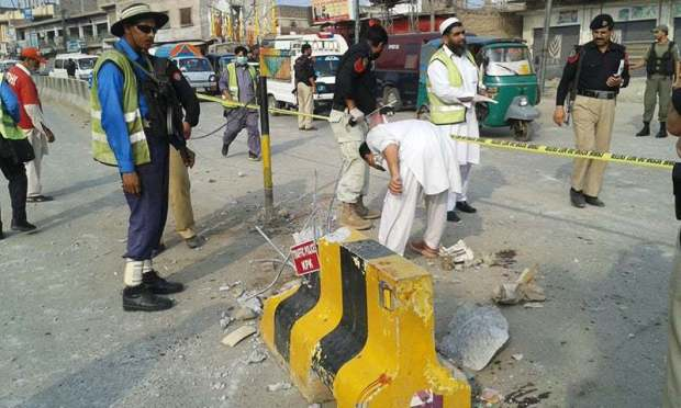 The blast took place near a bus stand in Peshawar.— Photo by author