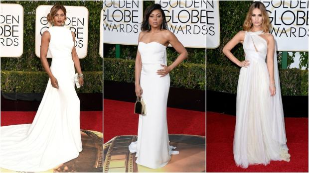 From L-R: Laverne Cox in Elizabeth Kennedy and Taraji P. Henson in Stella McCartney kept the drama with long trains and Lily James made an appearance in hand-draped Marchesa