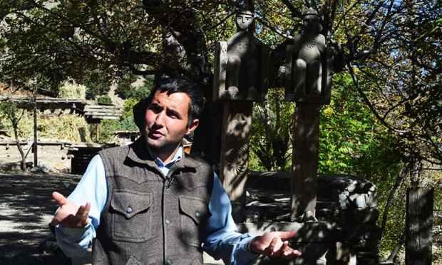 Kalash Peoples Development Network (KPDN) activist Luke Rehmat speaks during an interview with AFP in Brun village in the Bumboret valley. — AFP