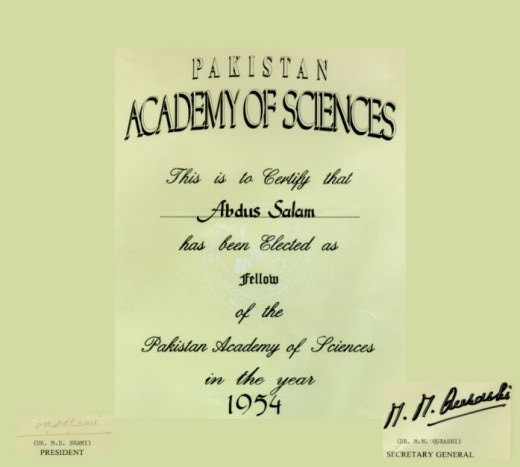 Abdus Salam's certificate for induction into the PAS. Source - ICTP Photo Library