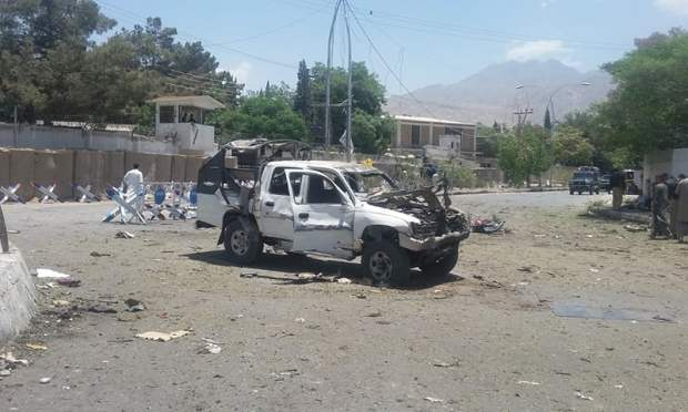 A damaged car at the site of the blast. ─Photo by author