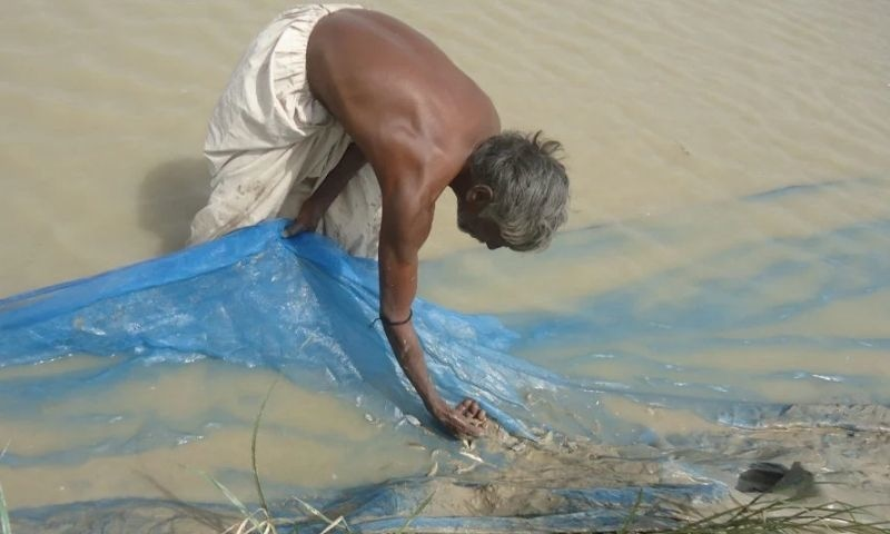 A fisher in Badin catches trash fish using an outlawed net that has no mesh at all. — Photo by author